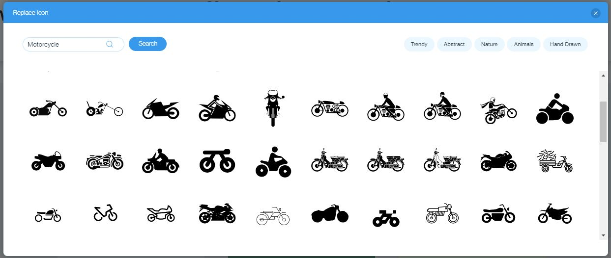Wix Logo Maker captura de pantalla - iconos de motos
